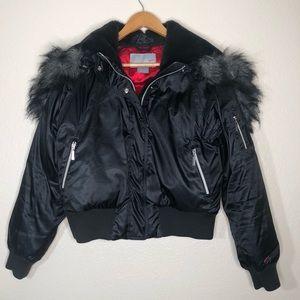 Nike Down Winter Jacket Faux Fur Hood Black Sz L